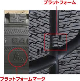 「プラットフォーム」と呼ばれるタイヤの磨り減り具合を目視できる目印までタイヤが磨り減ったら新品に交換するサインです。