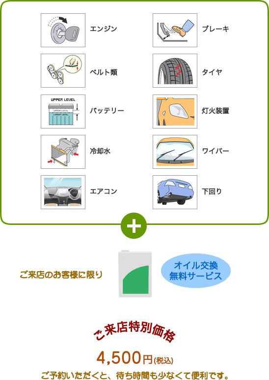プロケア10 ご来店のお客様はオイル交換無料。ご来店特別価格3,600円にて整備いたします。